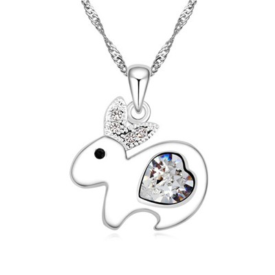 Active white diamond decorated rabbit pendant design alloy Crystal Necklaces