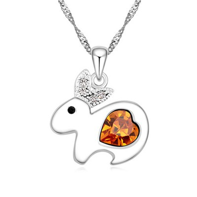 Athena yellow diamond decorated rabbit pendant design alloy Crystal Necklaces