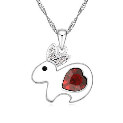 Masculine red diamond decorated rabbit pendant design alloy Crystal Necklaces