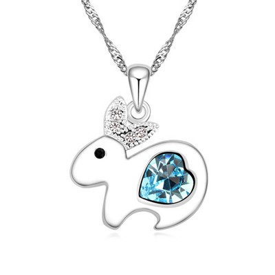 Kinetic navy blue diamond decorated rabbit pendant design alloy Crystal Necklaces