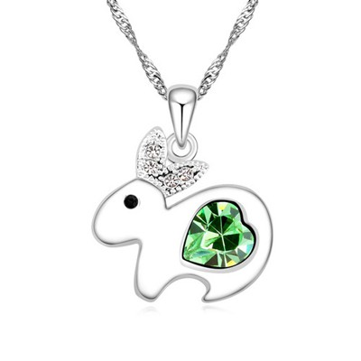 Used olive green diamond decorated rabbit pendant design alloy Crystal Necklaces