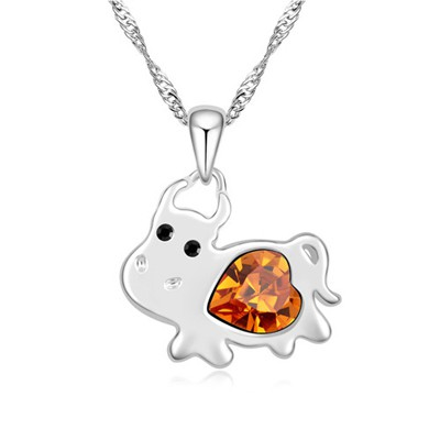 Deathly yellow diamond decorated cow pendant design alloy Crystal Necklaces