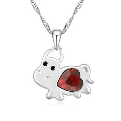 Named red diamond decorated cow pendant design alloy Crystal Necklaces