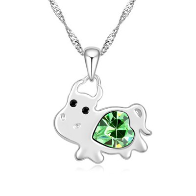 Blank olive green diamond decorated cow pendant design alloy Crystal Necklaces
