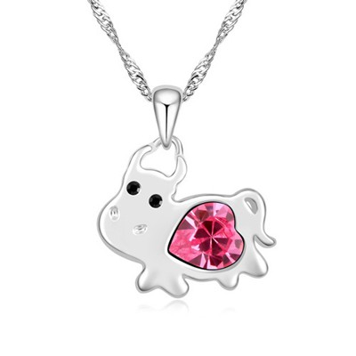 Quicksilve plum red diamond decorated cow pendant design alloy Crystal Necklaces