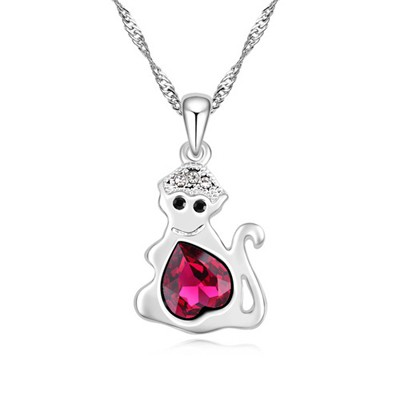 22K purple diamond decorated monkey pendant design alloy Crystal Necklaces