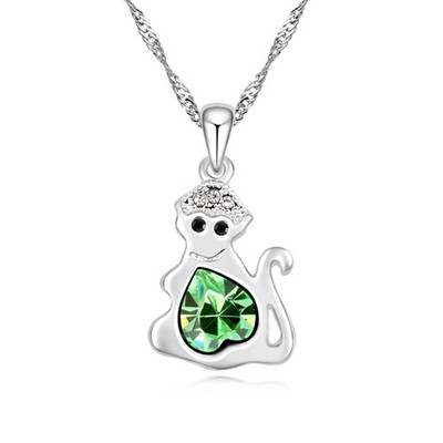 Fit olive green diamond decorated monkey pendant design alloy Crystal Necklaces