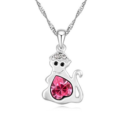 Hemming plum red diamond decorated monkey pendant design alloy Crystal Necklaces