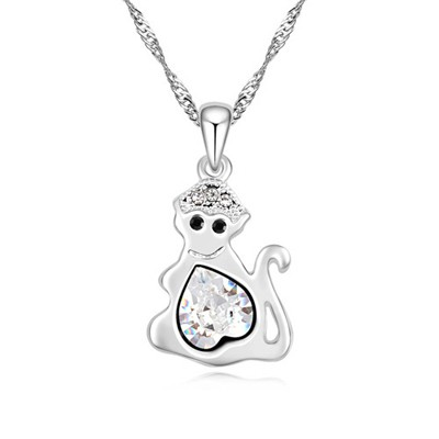 Chiropract white diamond decorated monkey pendant design alloy Crystal Necklaces