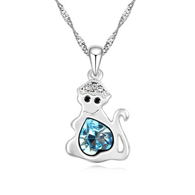 Chic navy blue diamond decorated monkey pendant design alloy Crystal Necklaces