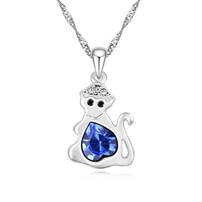 Crinkle blue diamond decorated monkey pendant design alloy Crystal Necklaces