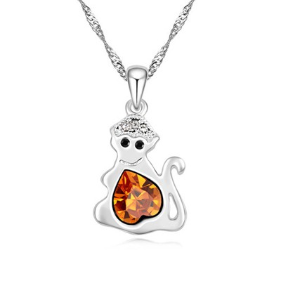 Cargo yellow diamond decorated monkey pendant design alloy Crystal Necklaces