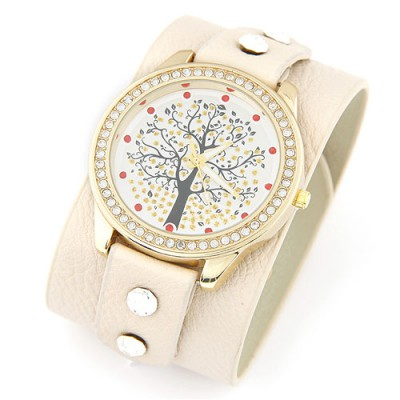 2011 beige diamond decorated tree pattern design pu Ladies Watches