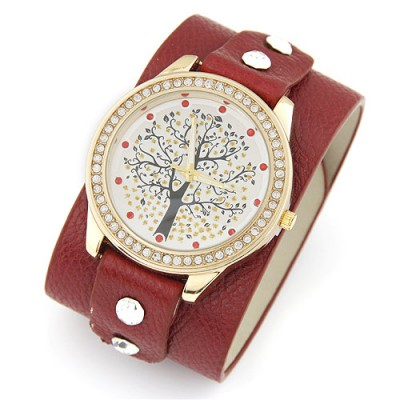 Order red diamond decorated tree pattern design pu Ladies Watches
