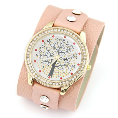 Luxurious pink diamond decorated tree pattern design pu Ladies Watches