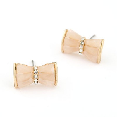 Expired light pink diamond decorated bowknot design alloy Stud Earrings