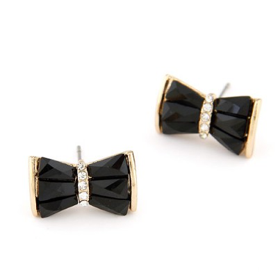 Wide black diamond decorated bowknot design alloy Stud Earrings
