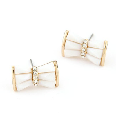 Hot white diamond decorated bowknot design alloy Stud Earrings