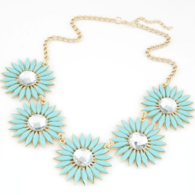 Chunky light blue gemstone decorated flower design alloy Bib Necklaces