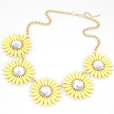 Photograph yellow gemstone decorated flower design alloy Bib Necklaces