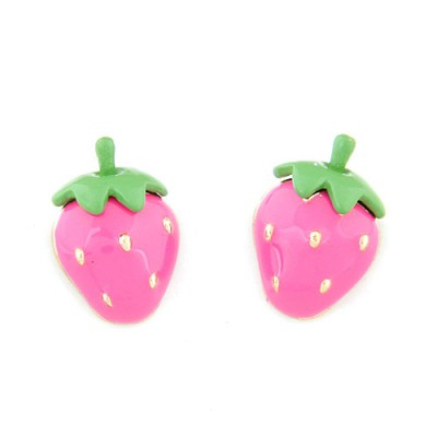 Afrocentri plum red sweet strawberry shape design alloy Stud Earrings