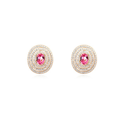 Pleated plumred&Champagnegold diamonddecoratedroundshapedesign alloy Crystal Earrings