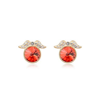 Military padparadscha&Champagnegold diamonddecoratedroundshapedesign alloy Crystal Earrings
