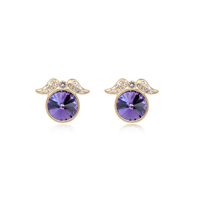 Extra pinkish&purpleChampagnegold diamonddecoratedroundshapedesign alloy Crystal Earrings
