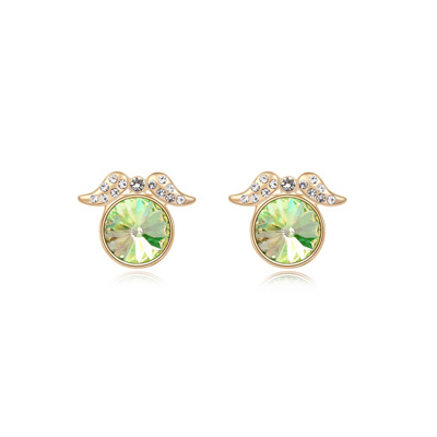 Vibrating luminousgreen&Champagnegold diamonddecoratedroundshapedesign alloy Crystal Earrings