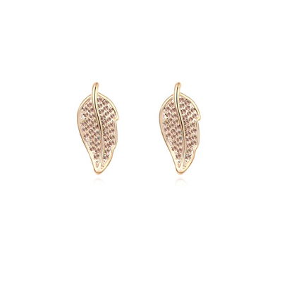 Photograph lightPeach&Champagnegold diamonddecoratedleafshapedesign alloy Crystal Earrings