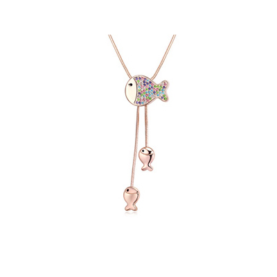 Best multicolor&Champagnegold diamonddecoratedfishpendantdesign alloy Crystal Necklaces