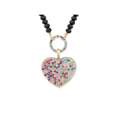 Cheerleadi multicolor&Champagnegold diamonddecoratedheart-shapedpendantdesign alloy Crystal Necklaces