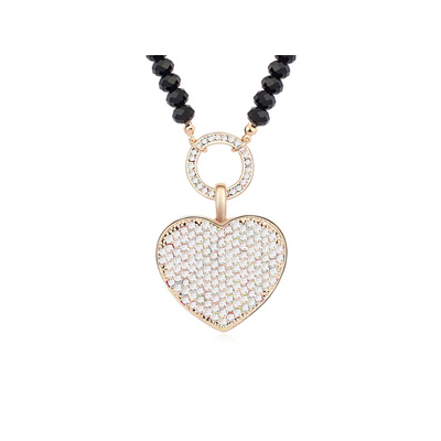 Guardian white&Champagnegold diamonddecoratedheart-shapedpendantdesign alloy Crystal Necklaces