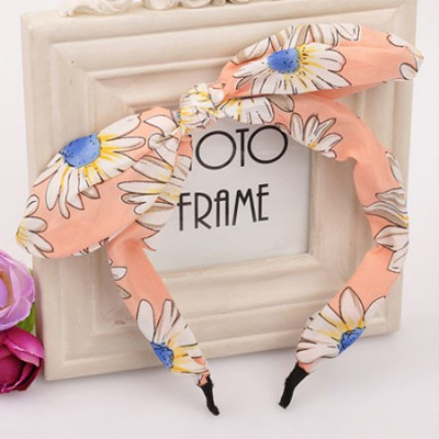 Corporate orange flower pattern bowknot design fabric Hair band hair hoop
