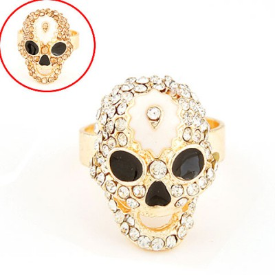 African black diamond decorated skull design alloy Korean Rings