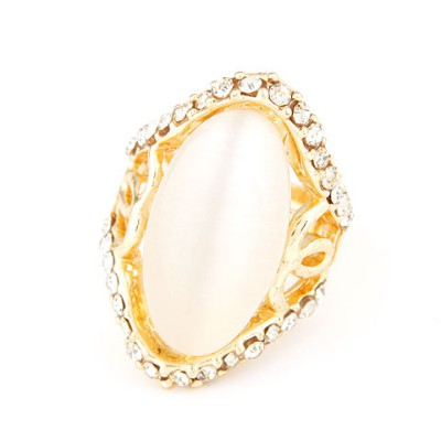 Chiropract white diamond decorated simple design alloy Korean Rings