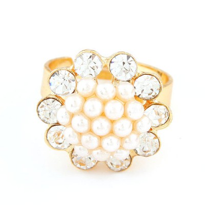 Diaper white diamond decorated flower design alloy Korean Rings