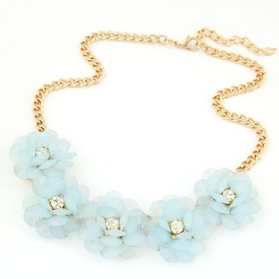 Stationary light blue flower decorated simple design alloy Bib Necklaces