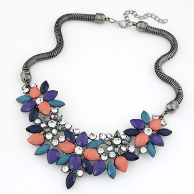 Synthetic multicolor gemstone decorated flower design alloy Bib Necklaces