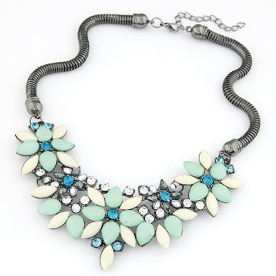 Roll light green gemstone decorated flower design alloy Bib Necklaces