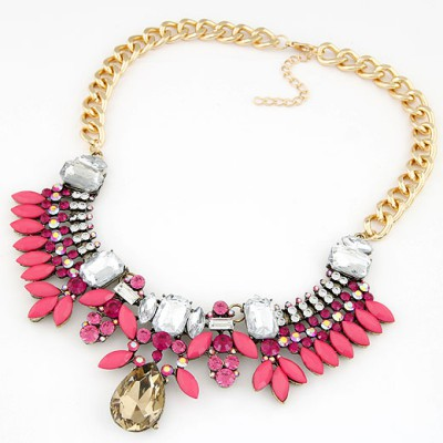Art plum red gemstone decorated design alloy Bib Necklaces