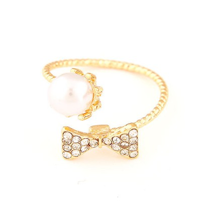 Harry gold color pearl decorated bowknot design alloy Korean Rings