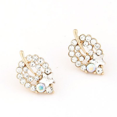 Military white CZ diamond decorated leaf shape design alloy Stud Earrings