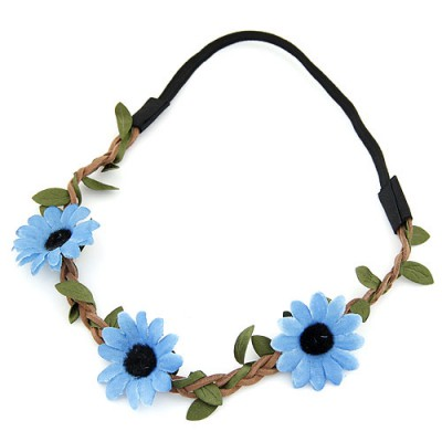 Display blue flower and leaf decorated simple design string Hair band hair hoop