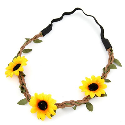 Steelers yellow flower and leaf decorated simple design string Hair band hair hoop