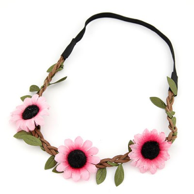 Monarch pink flower and leaf decorated simple design string Hair band hair hoop
