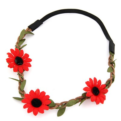 Rolling red flower and leaf decorated simple design string Hair band hair hoop