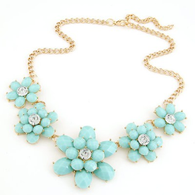Cute light blue gemstone decorated flower design alloy Bib Necklaces