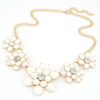 Cool white gemstone decorated flower design alloy Bib Necklaces