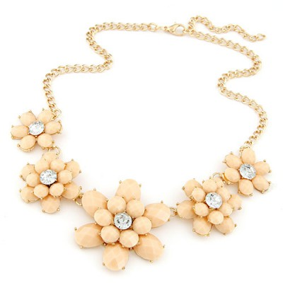 Corporate beige gemstone decorated flower design alloy Bib Necklaces